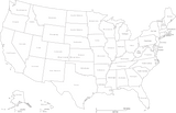 United States Black & White Map with States and State Names
