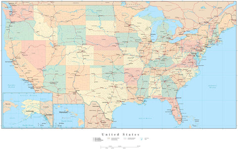 Poster Size USA Map with Counties  Cities  Interstates  and Water Features - Platte Carre Projection