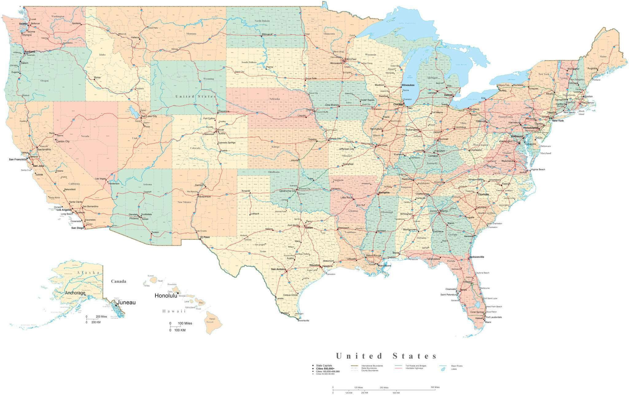 Poster Size USA Map with Counties, Cities, Interstates, and Water Features  - Platte Carre Projection