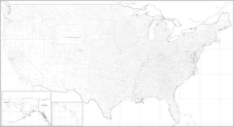 Black & White Poster Size USA Map with Counties - Rectangular Projection
