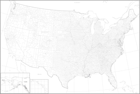 Poster Size Black & White USA Map with Counties - Curved Projection