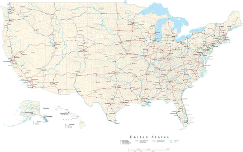 Poster Size USA Map with County Boundaries, Cities, Interstates, Water Features, and more