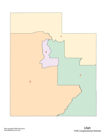 Utah Map with Congressional Districts