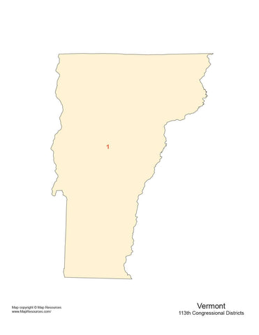 Vermont Map with Congressional Districts