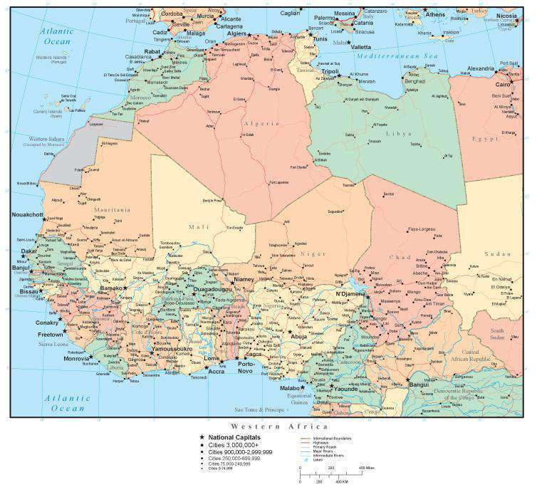 Western Africa Map With Countries Cities And Roads Map Resources
