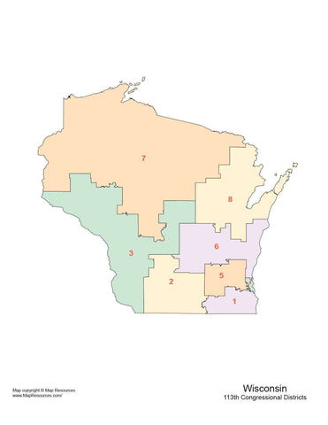 Wisconsin Map with Congressional Districts