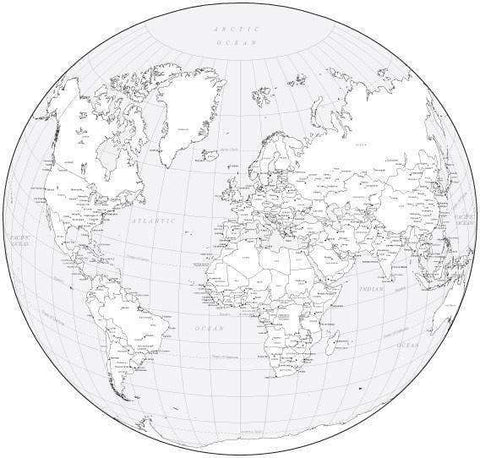Black & White World Map with Countries  Capitals and Major Cities - WLDCIR-253553