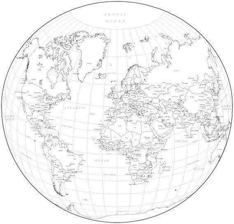 Black & White World Map with Countries  Capitals and Major Cities - WLDCIR-253565