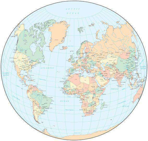 World Map - Multi Color with Countries, Capitals, Major Cities and Water Features