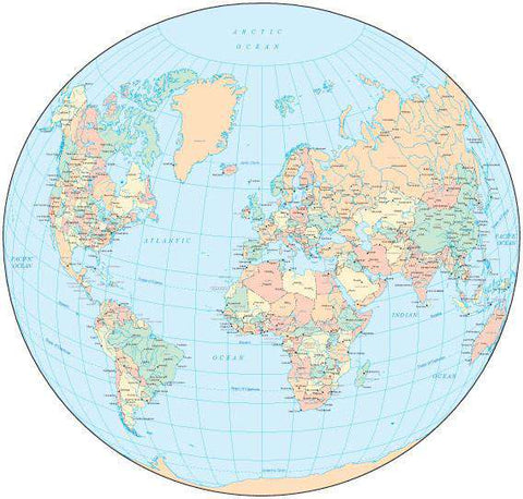 World Map - Circle Projection