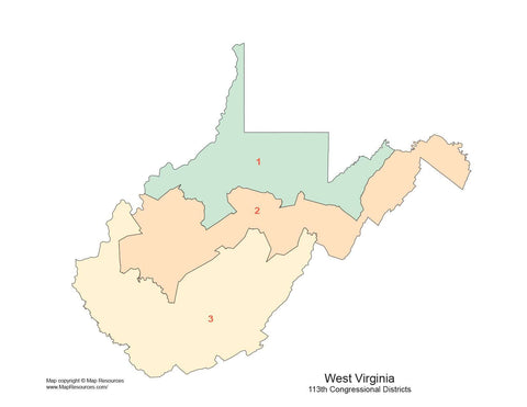 West Virginia Map with Congressional Districts