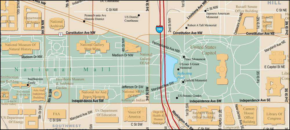 Washington, DC - National Mall Area Map with Local Streets
