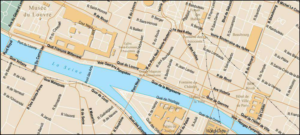 Paris France Map with All Local Streets and City Features