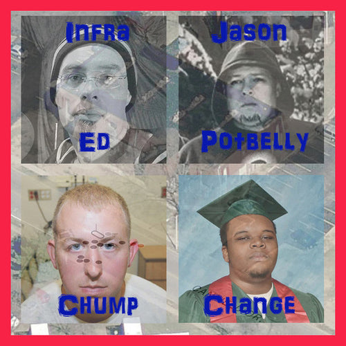 "Infra Ed & Jason Potbelly / Chump Change- Split 7"" ~ORANGE STARBURST COLORED WAX!"