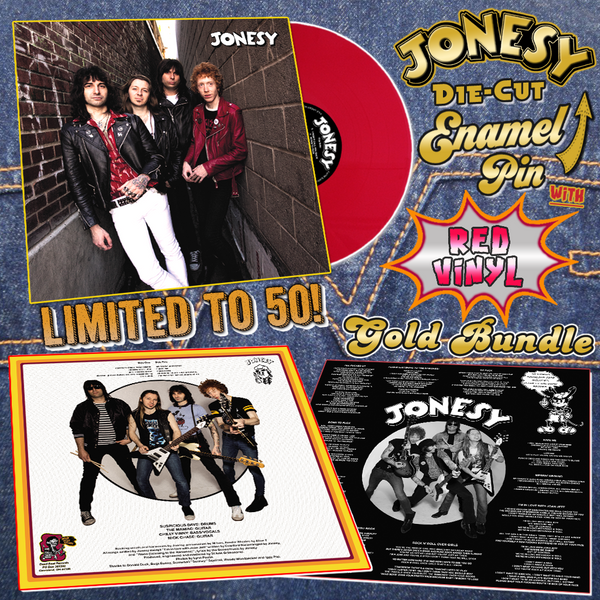 Jonesy- S/T LP ~GOLD BUNDLE W/ CHERRY RED WAX + GOLD DIE-CUT PIN!