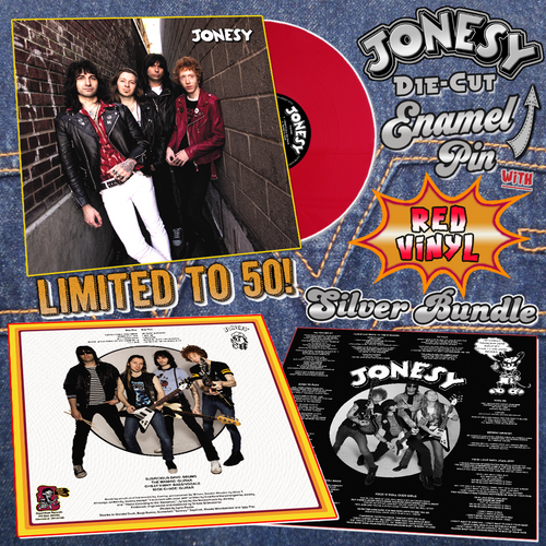 Jonesy- S/T LP ~SILVER BUNDLE W/ CHERRY RED WAX + SILVER DIE-CUT PIN!