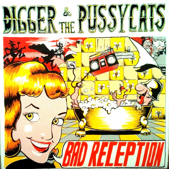 Digger & The Pussycats - Bad Reception LP ~SILK SCREENED COVERS! - Ptrash - Dead Beat Records