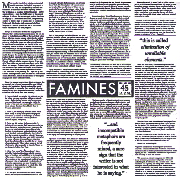 "The Famines- Syllables 7"" ~KILLER!"