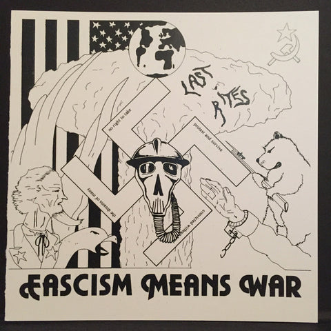 "Last Rites- Facism Means War 7"" ~REISSUE RARE CLEAR WAX! - Loud Punk - Dead Beat Records - 1"