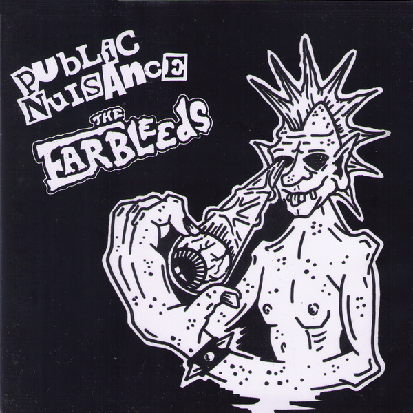 "Public Nuisance / Ear Bleeds- Split 7"" ~RARE CLEAR WAX WITH GREEN SPLATTERS!"