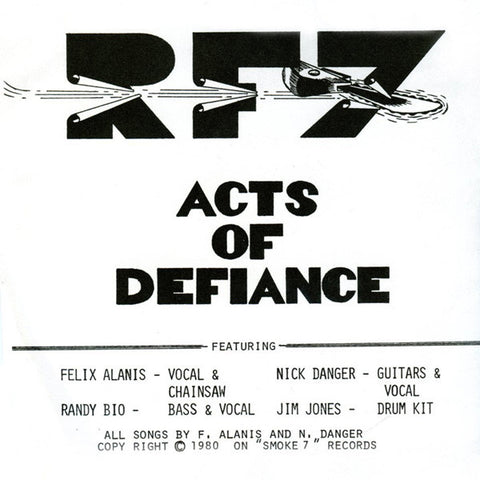 "RF7- Acts Of Defiance 7"" ~REISSUE! - Puke N Vomit - Dead Beat Records"