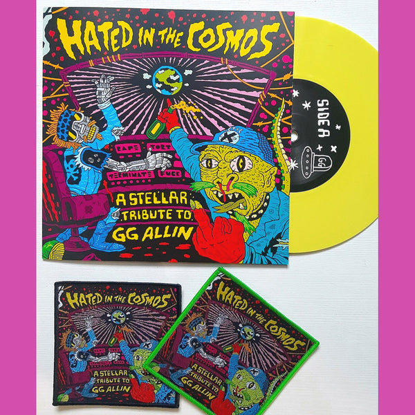 "V/A - Hated in the Cosmos: A Tribute To GG Allin 7"" ~RARE YELLOW WAX + WOVEN PATCH!"