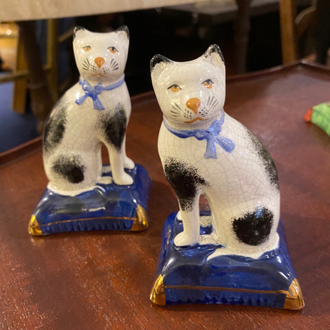 Pair of Staffordshire White Cats
