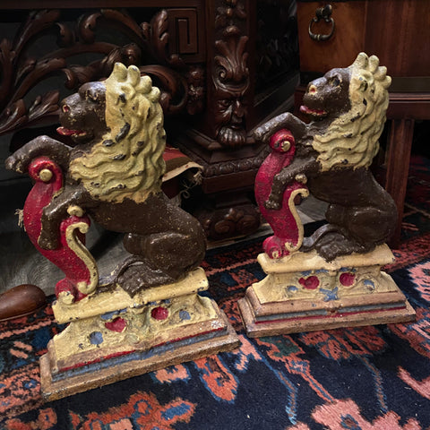 Pair of Painted Iron Lion Door Stops
