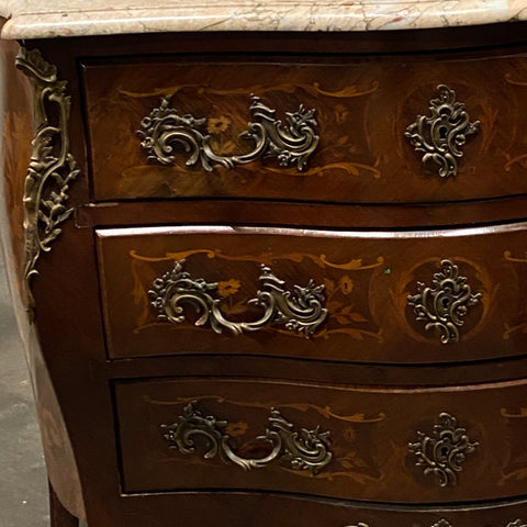 French Marquetry Marble Top 3 Drawer Chest with Ormolu, c. 1890
