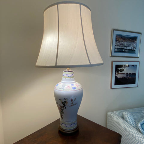 White Porcelain Painted Lamp with Silk Shade