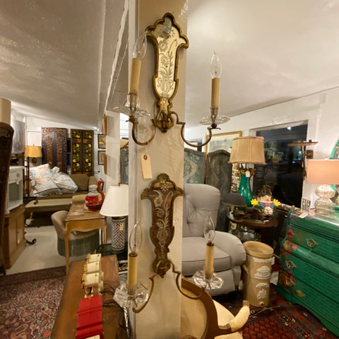 Pair of Mirrored Etched Double Arm Sconces