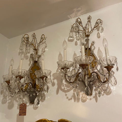 Pair of 3 Arm Crystal Sconces