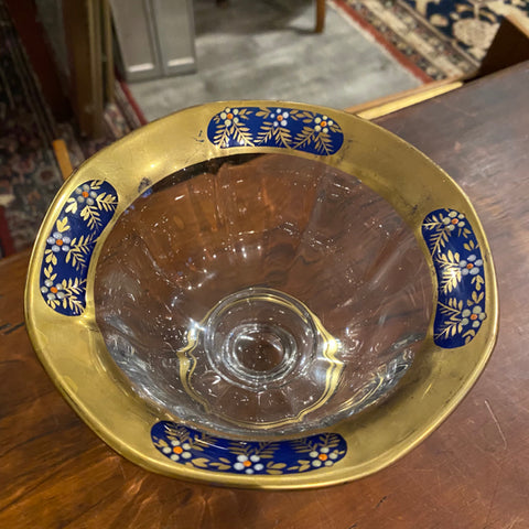 Glass Bowl on Pedestal Base with Blue and Gold Rim