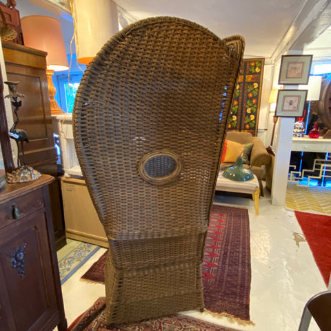 Historic Antique Wicker Canopy Chair with Windows