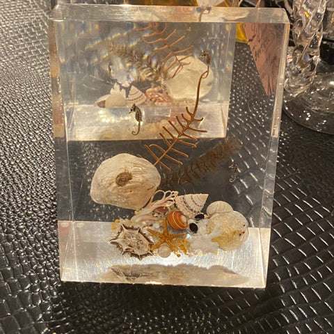Mid Century Lucite Shell Bookends