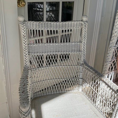 White Wicker Arm Chair