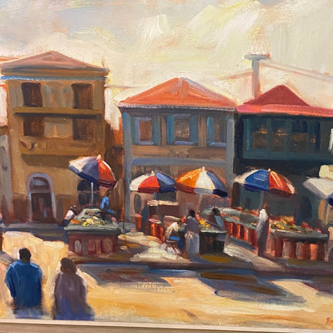 Tihansky Outdoor Cafe Painting, Oil on Canvas