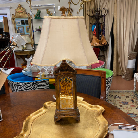 Gold Lamp with Mirrored Embellishment