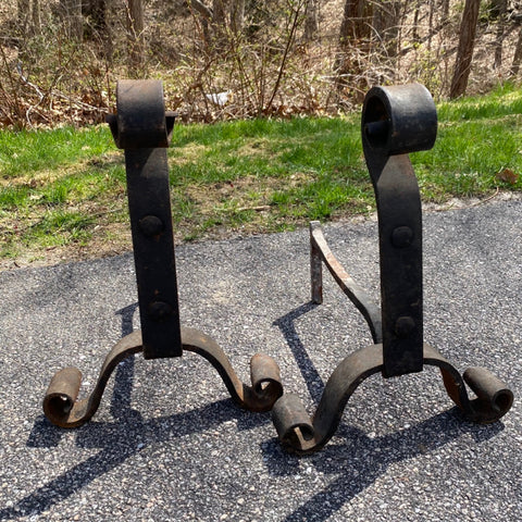 Pair of Wrought Iron Andirons, Unmarked, But Likely Stickley