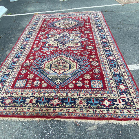 "Red Navy Ivory Dynamic Central Motif Persan Rug 6'11"" x 10'"