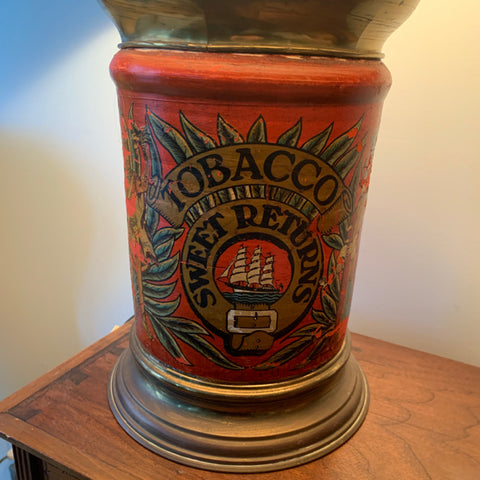 Red Tole Tobacco Canister Lamp, as is