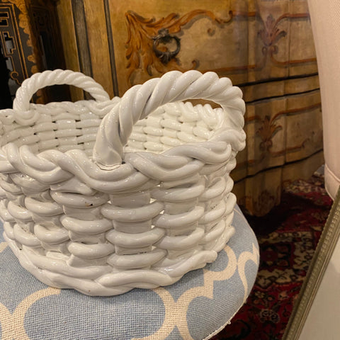 White porcelain basket bowl