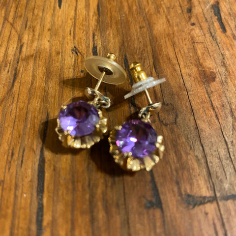 14k Purple Sapphire Earrings