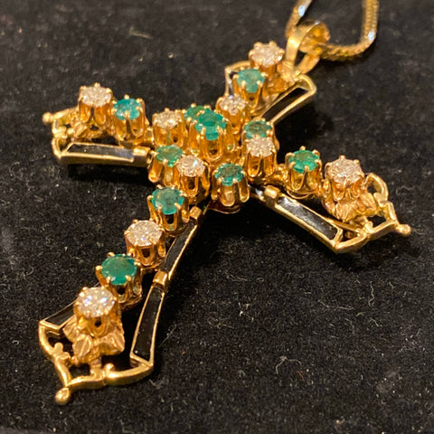 14k Russian Gold Cross with Black Enamel, Diamonds and Emeralds