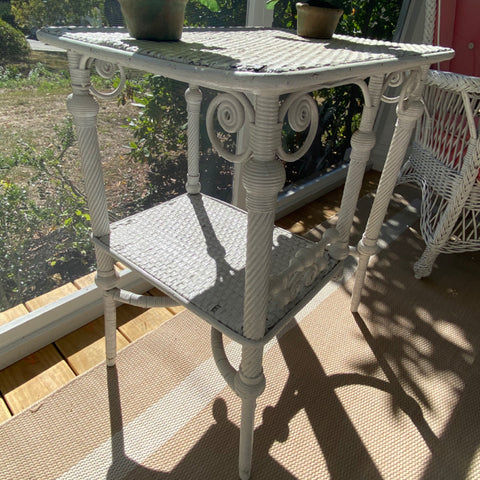 White Wicker Side Table