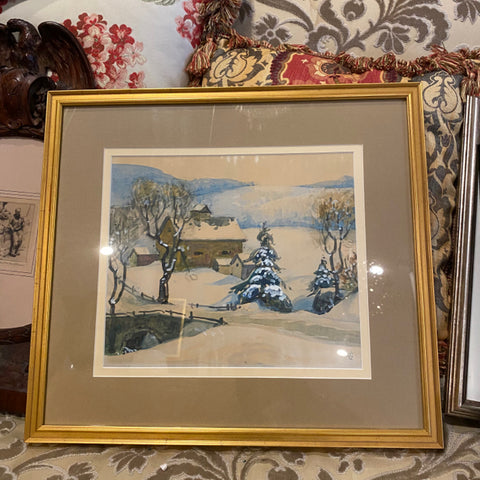 Lee Court signed snowy painting