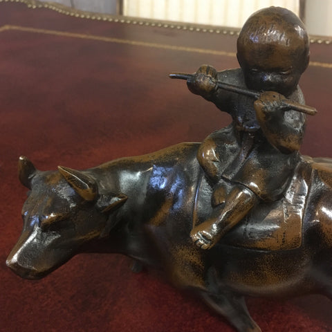 Bronze Chinese Statue, Child on Bull