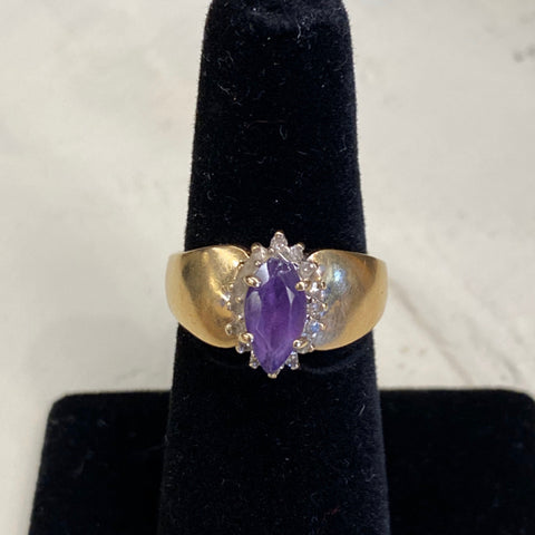 14k Amythest, Diamond Ring
