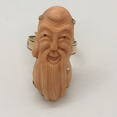 18k Coral Carved Guru Ring