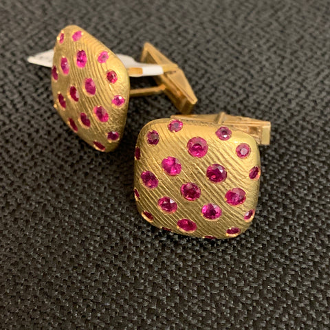 18k Ruby Cuff Links
